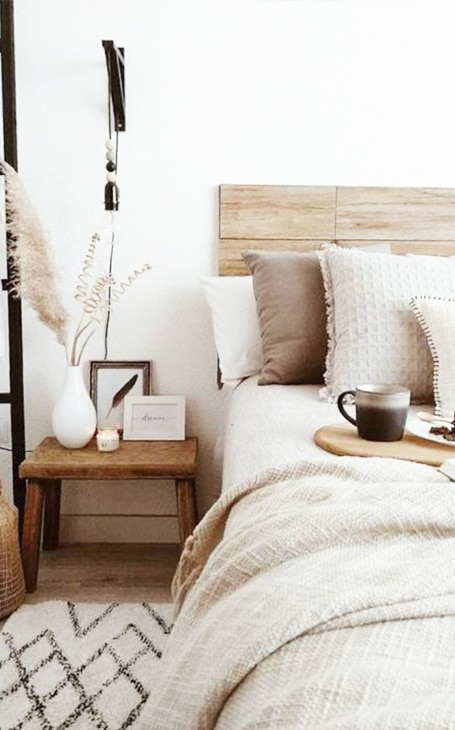 déco hygge chambre cocooning beige