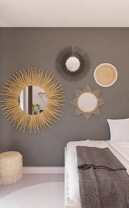 déco miroir soleil en métal