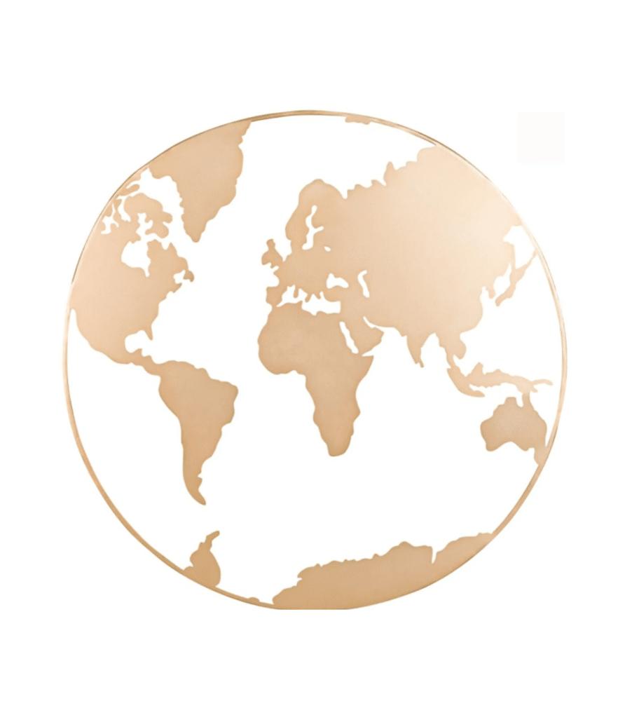 déco murale carte du monde en métal doré