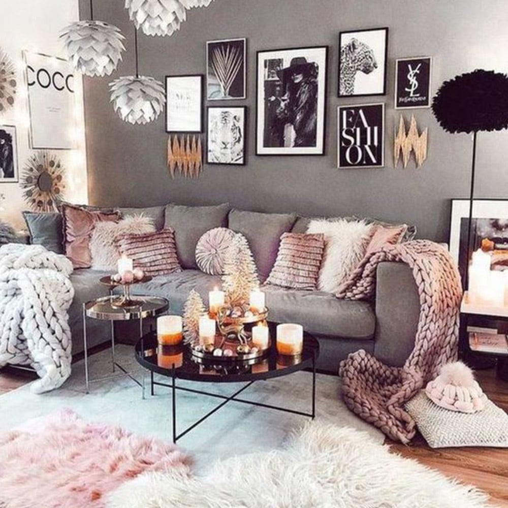 salon gris et rose