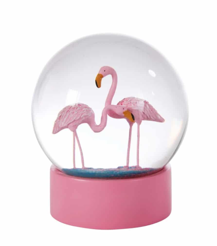 Boule à neige flamingo