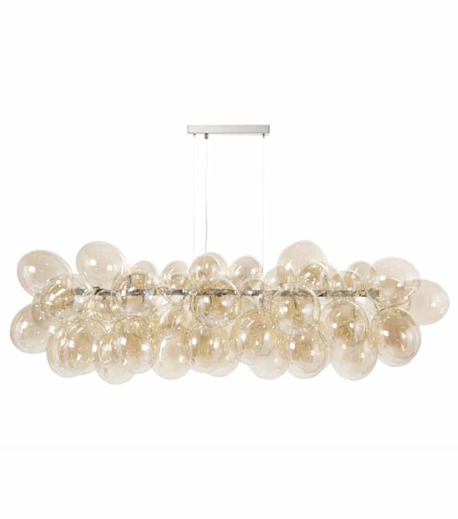CLOUD - Lustre en métal et globes en verre ambré