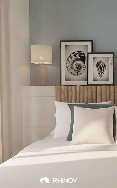 chambre mur gris bleu bord de mer