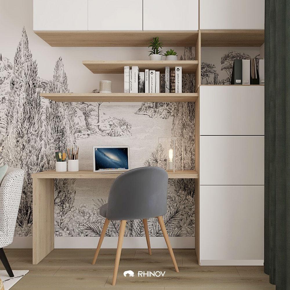 un bureau dans le séjour avec papier peint