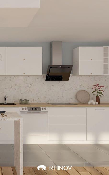 une cuisine avec mur gris bleu