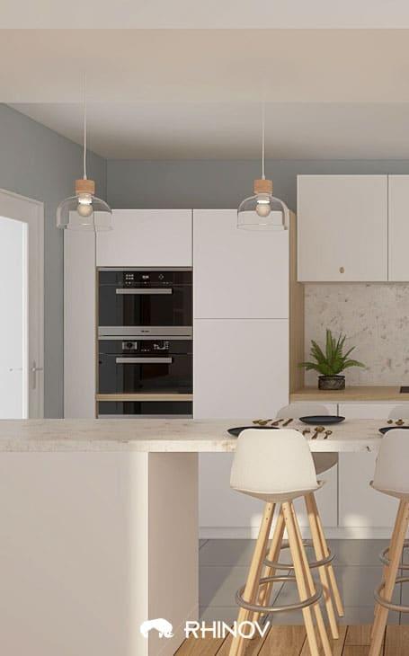 mur gris bleu dans une cuisine marbre
