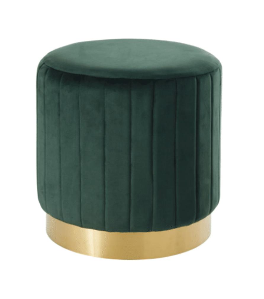 POUF - Velours vert et laiton