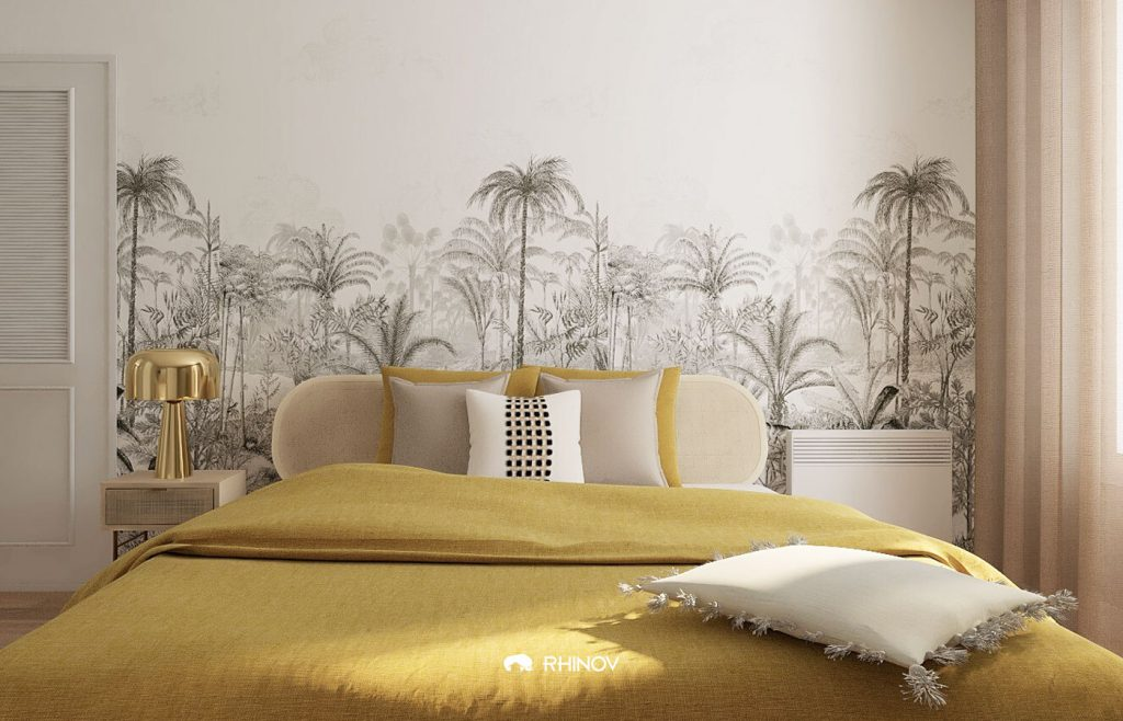 décoration chambre ethnique papier peint jungle