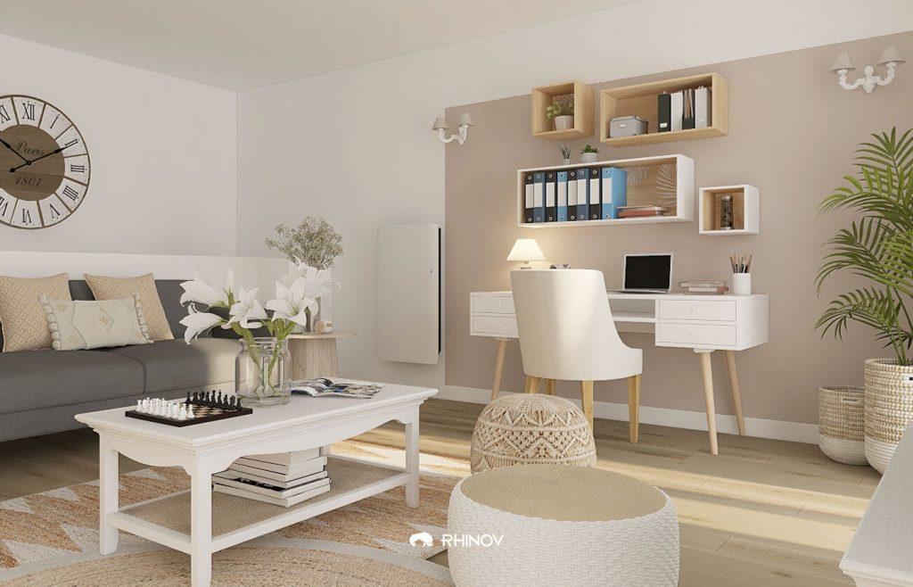 amenagement bureau cosy peinture beige