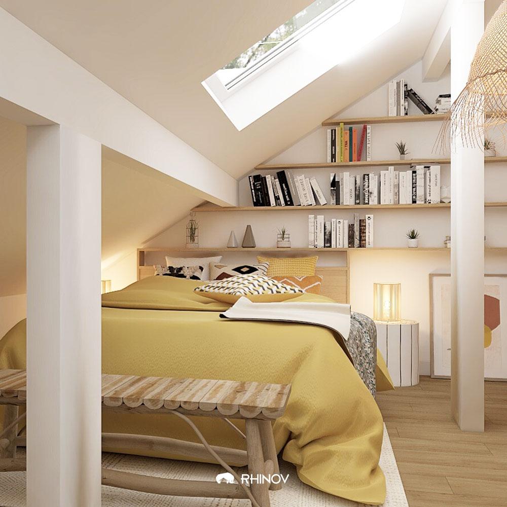 chambre sous comble bibliothèque en tête de lit