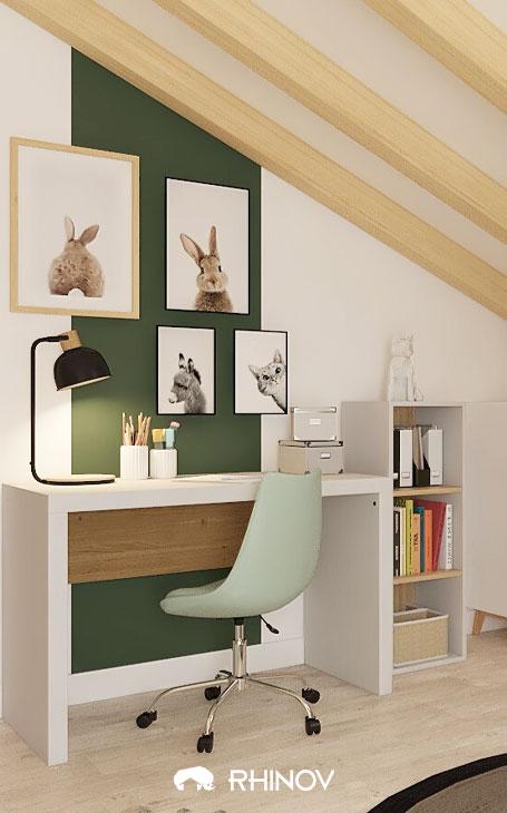 chambre sous comble bureau d'enfant sur mur pignon