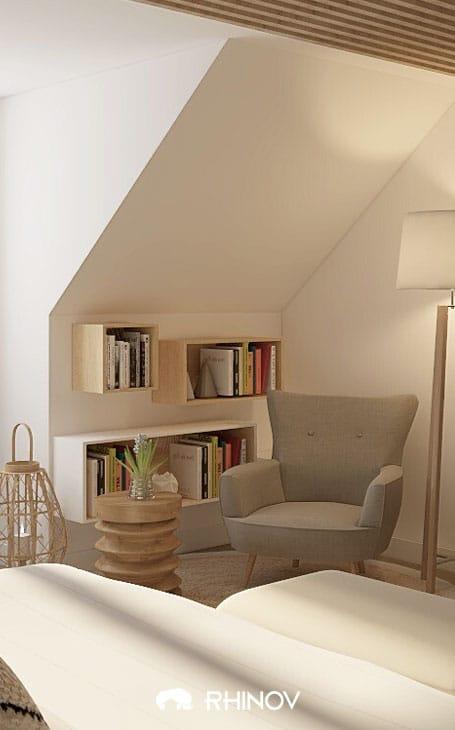 chambre sous comble coin lecture gros fauteuil