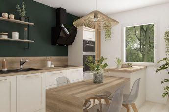 cuisine vert foncé et bois