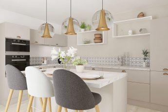 petite cuisine fermée avec ilot central en marbre